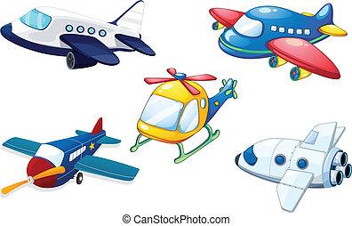 luft, olika, flygmaskiner
