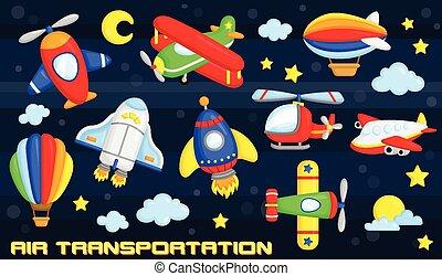 luft transport, vektor, sæt