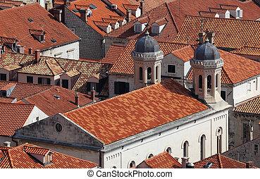 luftaufnahmen, dubrovnik, aus, dachenden, kroatien, rotes , ansicht