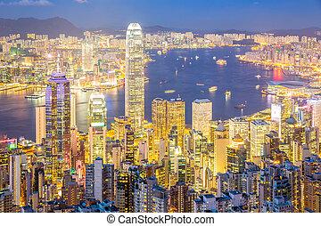 luftaufnahmen, hongkong, skyline