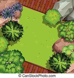 luftaufnahmen, kleingarten, ansicht