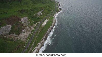 luftaufnahmen, kueste, straße, küsten, linie, nordirland