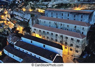luftaufnahmen, nacht, ansicht, von, porto, portugal