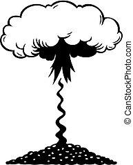 luftaufnahmen, nukleare explosion