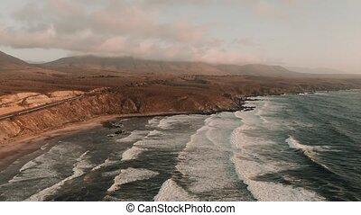 luftaufnahmen, playa, chigualoco, an, sonnenuntergang,...