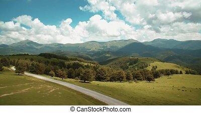 luftaufnahmen, pyrenäen, bergig, landschaften, spanien, -,...