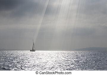 luftaufnahmen, segelboot, segeln