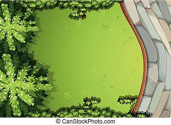 luftaufnahmen, szene, kleingarten