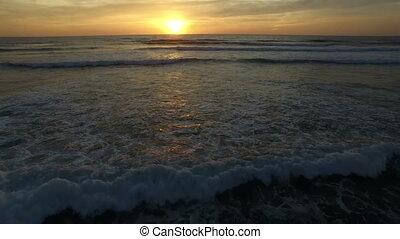 Luftaufnahmen, Wellen, Sonnenuntergang, wasserlandschaft