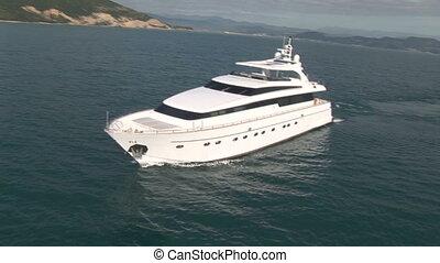 luftaufnahmen, yacht, luxus, ansicht
