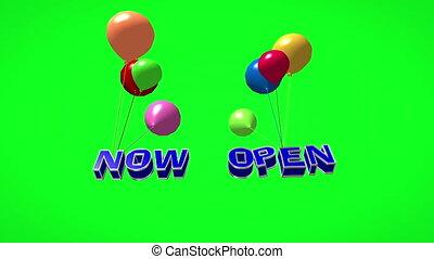 luftballone, 3d, fliegendes, jetzt, rgeöffnete, text