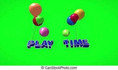 luftballone, 3d, spielen, fliegendes, zeit, text