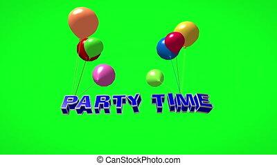 luftballone, 3d, zeit, party, fliegendes, text