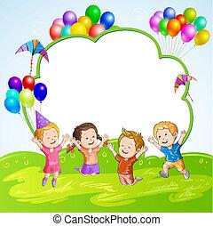 luftballone, aus, kinder, banner