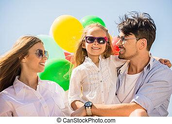luftballone, familie, draußen