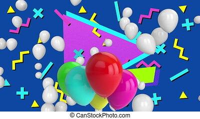 luftballone, gefärbt, formen, blauer hintergrund, aus, ...