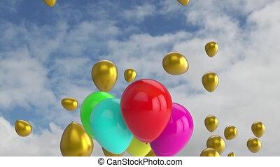 luftballone, himmelsgewölbe, gruppe, multi, animation, ...