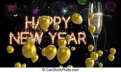 luftballone, jahreswechsel, glücklich, champagner