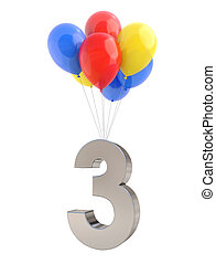 luftballone, mit, zählen 3