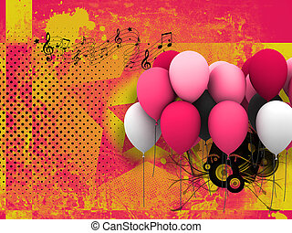 luftballone, retro, hintergrund