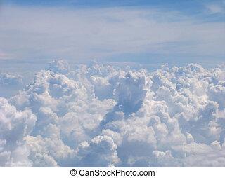 luftblick, auf, wolkenhimmel, feld