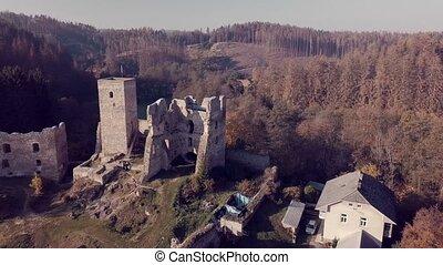 luftblick, hofburg, ruinen, rokstejn