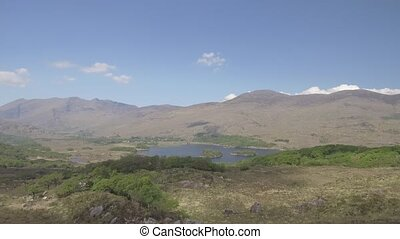 luftblick, killarney nationalpark, auf, der, ring, von, kerry, bezirk kerry, ireland., episch, luftaufnahmen, von, a, natürlich, irisch, landschaft., wohnung, video, profile.