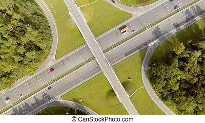 luftblick, von, a, autobahn, kreuzung