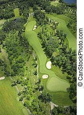 luftblick, von, a, golfplatz