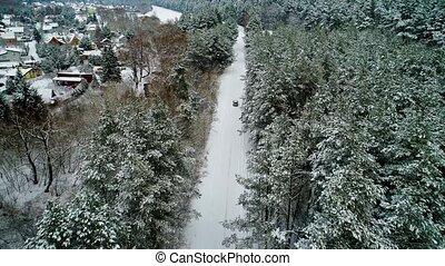 luftblick, von, auto, einziehen, winter, wald