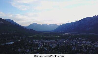 luftblick, von, bergig, banff, alberta, kanada