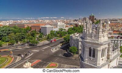 luftblick, von, cibeles quelle, an, plaza de cibeles, in, madrid, timelapse, in, a, schöne , übersommern tag, spanien