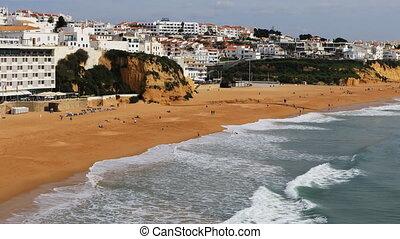 luftblick, von, der, sandstrand, an, albuferie, portugal