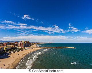 luftblick, von, der, sandstrand, von, alboraya, bei, stadt, von, valencia., spanien