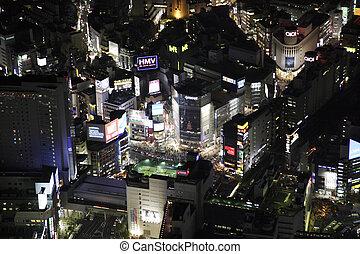 luftblick, von, der, shibuya, station, bereiche