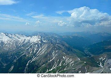 luftblick, von, französische alpen, bei, barcelonnette, frankreich