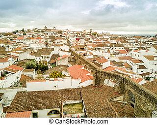 luftblick, von, historisch, evora, in, alentejo, portugal