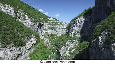 luftblick, von, moraca, fluß, canyon.