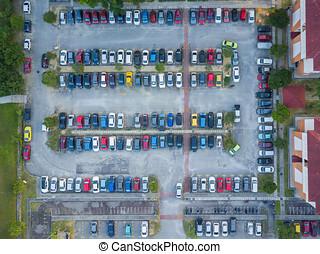 luftblick, von, parkplatz