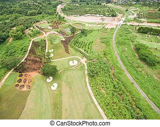 luftblick, von, schöne , golfplatz