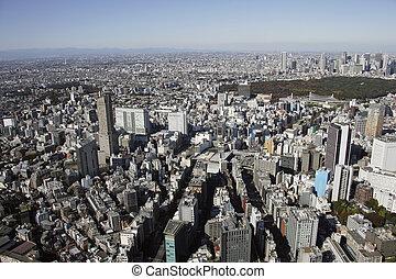 luftblick, von, shibuya, station, bereiche