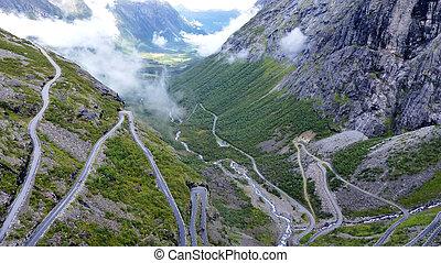 luftblick, von, straße, in, norwegen