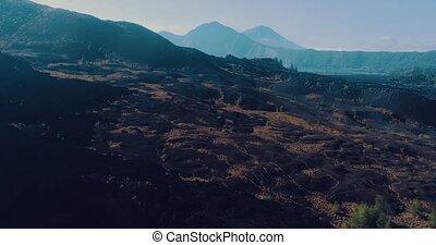 luftblick, von, vulkanisch, felsig, landschaftsbild, in,...