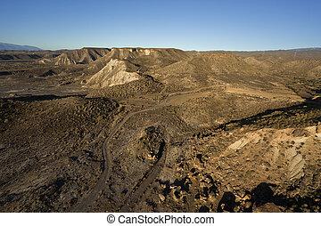 luftblick, von, wüste, berge