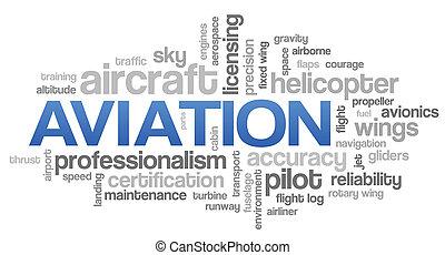 luftfahrt, wort, wolke, blaues, blase, etikette, baum,...