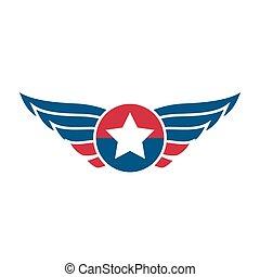 luftfart, emblem, emblem, eller, logo