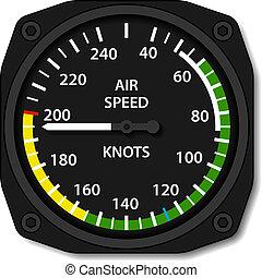 luftfart, flygplan, vektor, airspeed, indikator