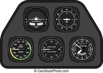 luftfart, flyvemaskine, svæveflyver, instrumentbræt