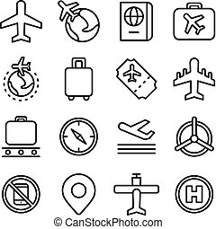 luftfart, och, luft resa, begrepp, ikon