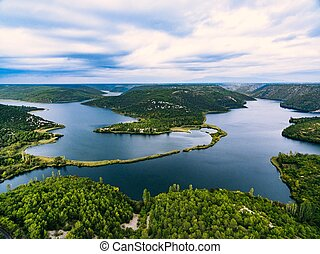 luftfoto, nationalpark, krka, croatia.